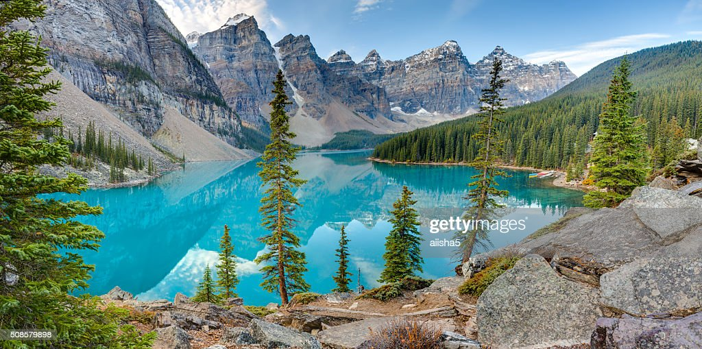 See Moraine lake panorama : Stock-Foto
