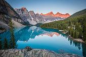 Moraine Lake in Banff, Canada at sunrise.