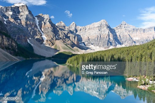 Moraine Lake with Mountains and Trees : Stock Photo