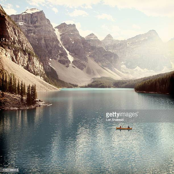 Moraine Lake with yellow canoe