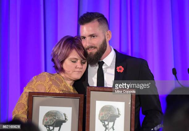 Moral Courage Award Honorees Veterans Teri Poulton and Tim Brutsman receive their awards at the Headstrong Gala 2017 at Pier 60 Chelsea Piers on...