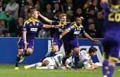 Morales Tavares of NK Maribor celebrates after he scoresvduring the UEFA Champions League Qualifying PlayOffs Round Second Leg Match between Celtic...