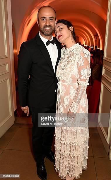 Moran Rosenblatt and Nitzan Gilady attend the BFI London Film Festival Awards at Banqueting House on October 17 2015 in London England