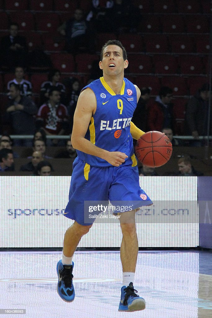 Moran Roth #9 of Maccabi Electra in action during the 2012-2013 Turkish Airlines Euroleague Top 16 Date 6 between Besiktas JK Istanbul v Maccabi Electra Tel Aviv at Abdi Ipekci Sports Arena on January 31, 2013 in Istanbul, Turkey.