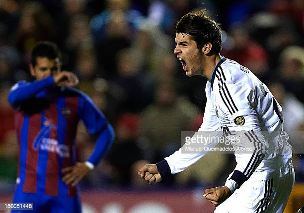 Morata of Real Madrid celebrates scoring during the La Liga match between Levante UD and Real Madrid at Ciutat de Valencia on November 11 2012 in...
