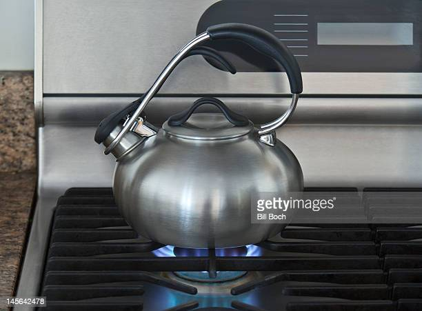 Mordern kettle on a lit gas stove hob