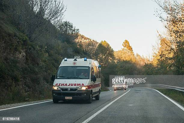 More ambulances arrives at Preci to help and reinforce the first aid on October 30 2016 in Perugia Italy A 71 magnitude earthquake struck central...