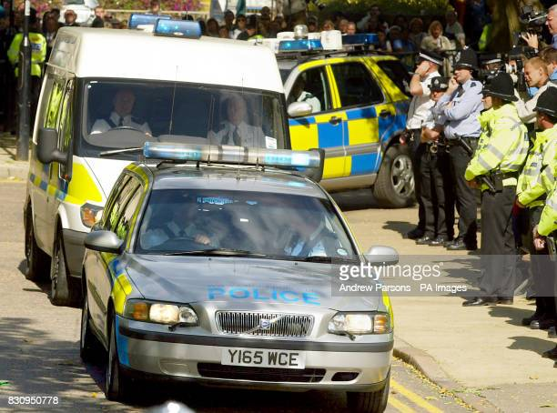 More than 100 officers on duty outside Peterborough Magistartes Court Cambridgeshire special fences were erected to keep the crowds away from the...