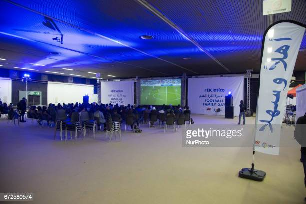 More than 1000 refugees attends the meeting with superstar football player Carles Puyol former captain of Spainin Thessaloniki Greece on April 23...