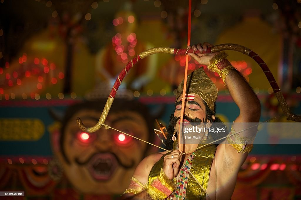More than 10000 spectators watch the final play in the ninenight performance of Ramlila at the Red Fort in Delhi India The Hindu play tells the story...