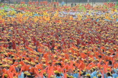 More than 10000 students of Shanxi University gather to celebrate Youth Day on May 4 2012 in Taiyuan Shanxi Province of China Youth Day in China...