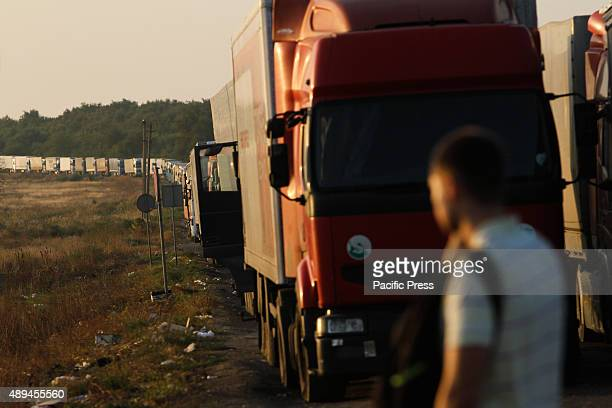 More than 300 TIR trucks are seen parked in line on the BCP Kalanchak as activists starts the blockade of annexed Crimea Chairman of the Mejlis of...