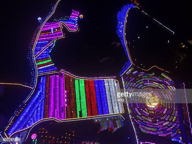 More than 300mu garden decorated with over 1600 LED lamps try on lighting ahead of the Pastoral Culture Art Festival in Shapingba District on...