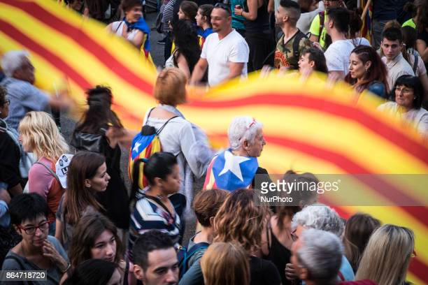 More than 400000 people march in the streets of Barcelona Spain on 21 October 2017 to demand freedom for the 2 independence leaders jailed 4 days...