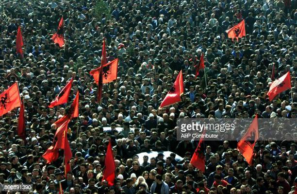 More than 50 000 ethnic Albanians demonstrate in Pristina 26 February 2003 to protest the detention of former top Kosovo Liberation Army commander...