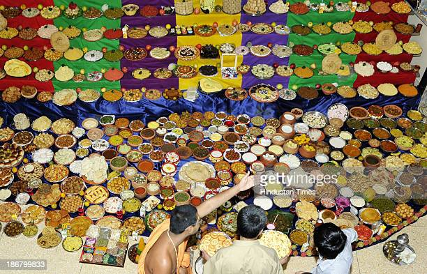 More than 500 recipes being presented to Lord Swaminarayan as offering naivedyam at Swaminarayan Temple on the occasion of Annakut Utsav on November...
