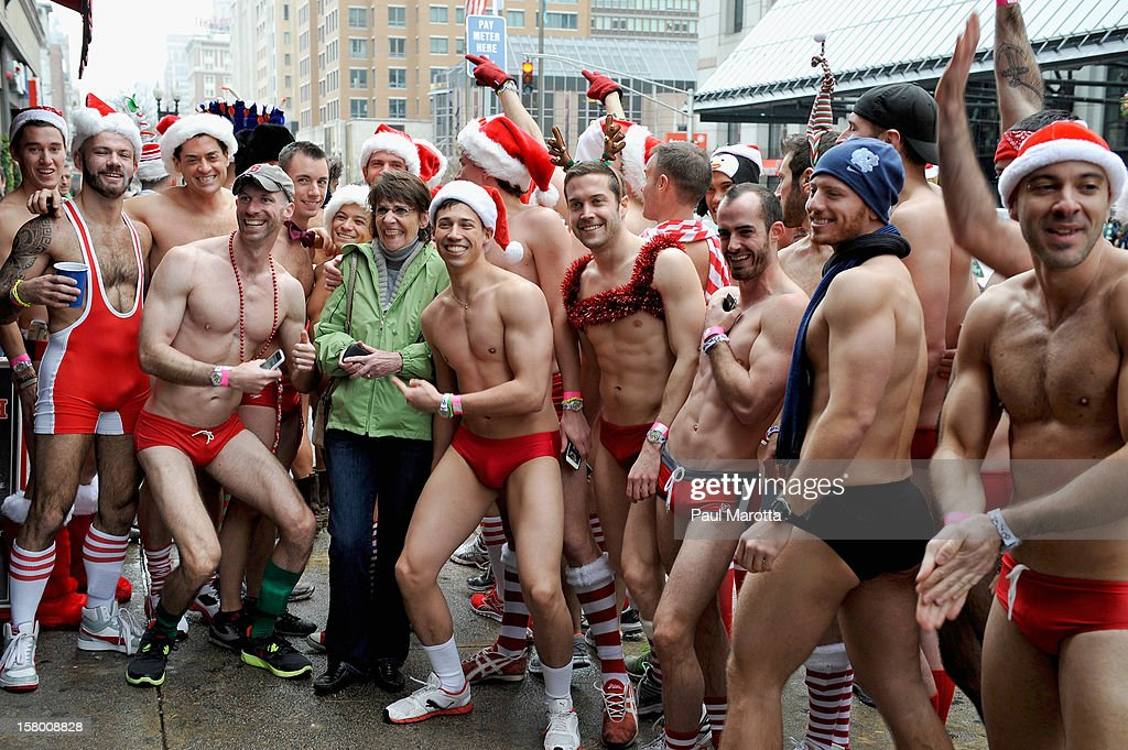 More than 700 runners participate in the 2012 Boston Santa Speedo Run, sponsored by Universal Studios Home Entertainment release of TED on DVD, as a fundraiser for the Play Ball! Foundation on December 8, 2012 in Boston, Massachusetts.
