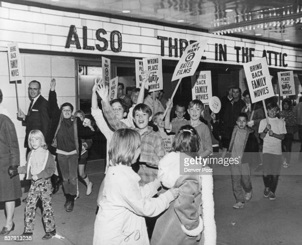 More than 75 persons carried signs in front of the movie house at 3830 Federal Blvd seeking 'family'rated films Credit Denver Post
