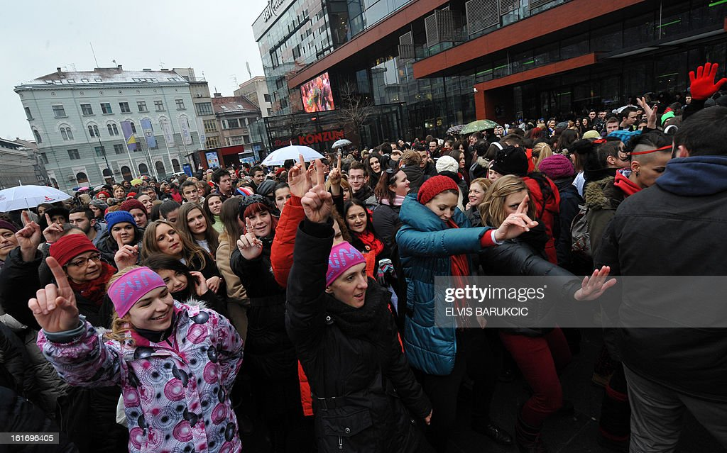 More than a thousand, Bosnian women gather to dance in Sarajevo, city centre, on February 14, 2013, supporting the worldwide 'One Billion Raises' campaign of global battle against violence towards women and girls. Women from more than 200 countries worldwide, took part in the campaign.