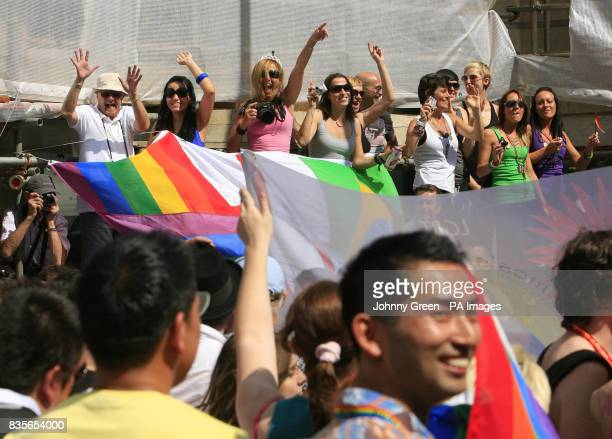 More than half a million lesbian gay bisexual and transgender marchers and other supporters take part in the Pride London Parade through he streets...