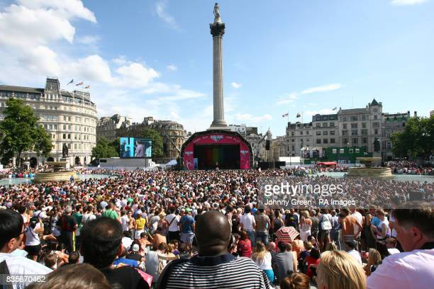 More than half a million lesbian gay bisexual and transgender marchers and other supporters take part in the Pride London Parade through the streets...