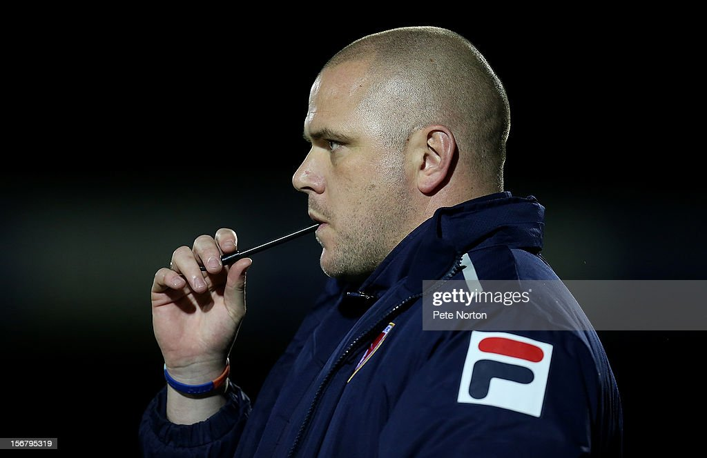 Morecambe manager Jim Bentley looks on during the npower League Two match between Northampton Town and Morecambe at Sixfields Stadium on November 20, 2012 in Northampton, England.