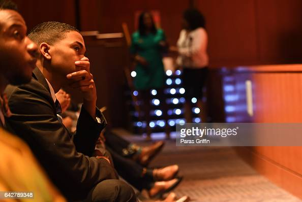 Morehouse College students observe Morehouse College 150th Anniversary 'Reflections of Excellence' at Ray Charles Performing Arts Center at Morehouse...