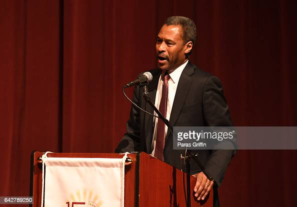 Morehouse president John Silvanus Wilson Jr onstage at Morehouse College 150th Anniversary 'Reflections of Excellence' at Ray Charles Performing Arts...