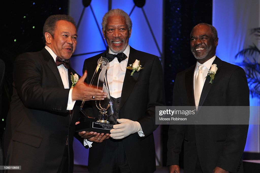 Morehouse President Robert M. Franklin, actor <a gi-track='captionPersonalityLinkClicked' href=/galleries/search?phrase=Morgan+Freeman&family=editorial&specificpeople=169833 ng-click='$event.stopPropagation()'>Morgan Freeman</a> and actor <a gi-track='captionPersonalityLinkClicked' href=/galleries/search?phrase=Glynn+Turman&family=editorial&specificpeople=1494207 ng-click='$event.stopPropagation()'>Glynn Turman</a> attend the 23rd Annual 'A Candle in the Dark' Gala at the Hyatt Regency on February 19, 2011 in Atlanta, Georgia.