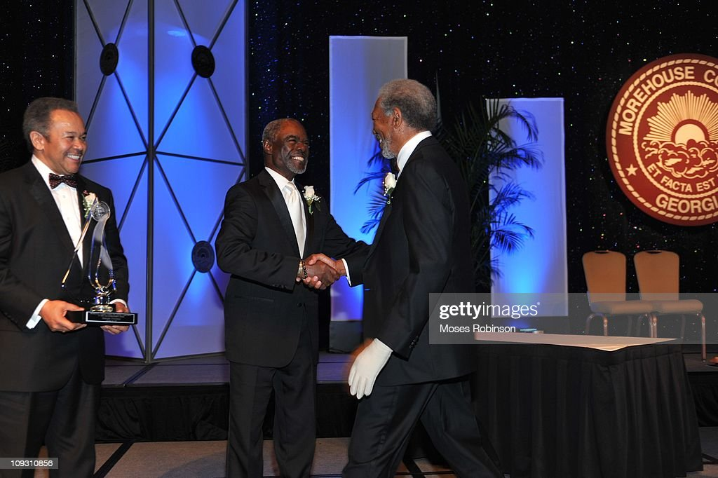 Morehouse President Robert M. Franklin, actor Morgan Freeman and actor Glynn Turman attend the 23rd Annual 'A Candle in the Dark' Gala at the Hyatt Regency on February 19, 2011 in Atlanta, Georgia.