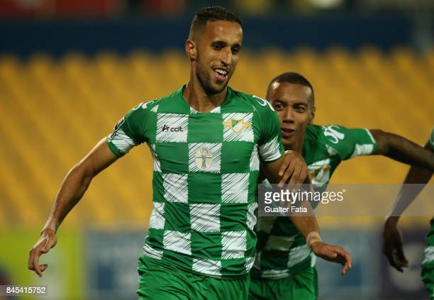 Moreirense FC defender Mohamed Aberhoun from Morrocco celebrates with teammate Moreirense FC forward Jhonder Cadiz from Venezuela after scoring a...