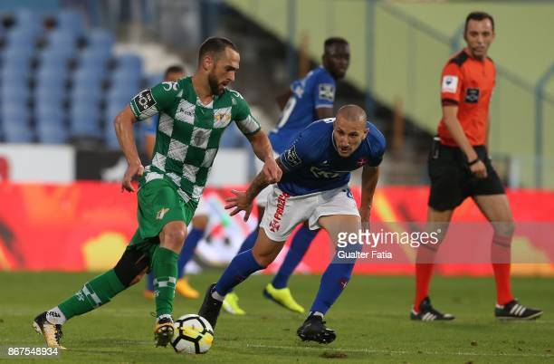 Moreirense FC midfielder Rafael Costa from Brazil with CF Os Belenenses midfielder Andre Sousa from Portugal in action during the Primeira Liga match...