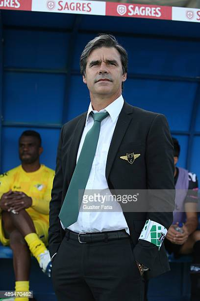 Moreirense FC's coach Miguel Leal during the Primeira Liga match between Os Belenenses and Moreirense FC at Do Restelo Stadium on September 21 2015...