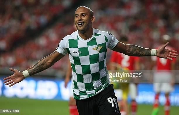 Moreirense FC's forward Rafael Martins celebrates after scoring a goal during the Primeira Liga match between SL Benfica and Moreirense FC at Estadio...