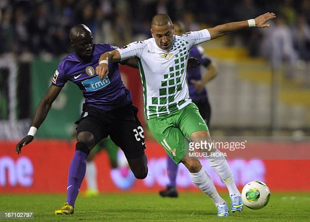 Moreirense's Algerian forward Nabil Ghilas vies with Porto's French defender Eliaquim Mangala during the Portuguese league football match Moreirense...
