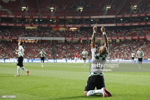 Moreirense's forward Rafael celebrates scoring Moreirense's first goal during the match between SL Benfica and Moreirense FC at Estadio da Luz on...