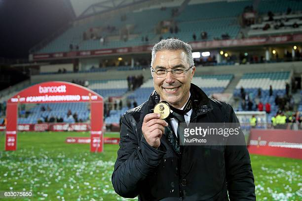 Moreirenses head coach Augusto Inacio celebrating after winning the Final League Cup 2016/17 match between FC Moreirense v SC Braga at Algarve...