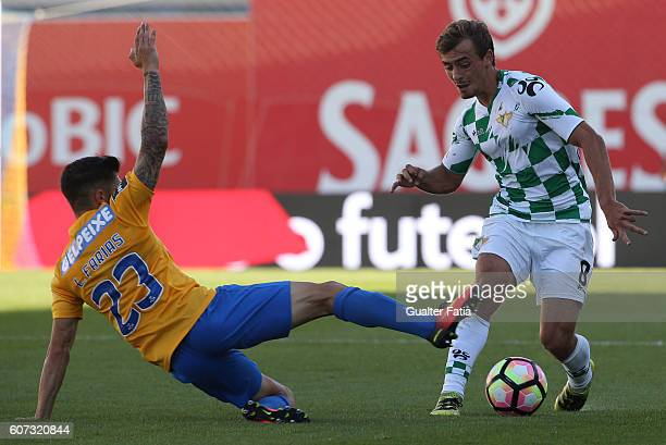 Moreirense«s midfielder Francisco Geraldes with Estoril's defender Lucas Farias from Brazil in action during the Primeira Liga match between GD...