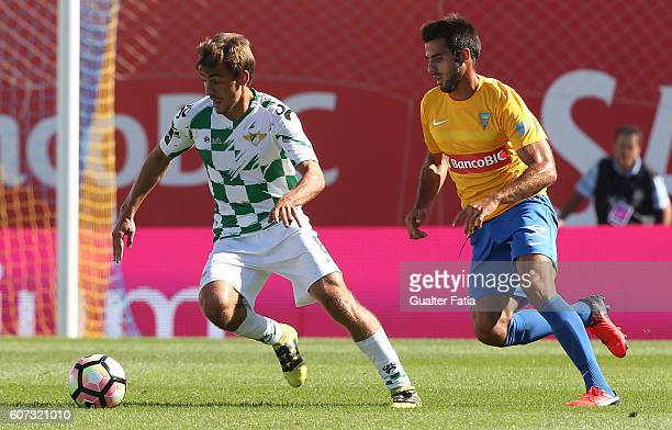 Moreirense«s midfielder Francisco Geraldes with Estoril's midfielder Afonso Taira from Portugal in action during the Primeira Liga match between GD...