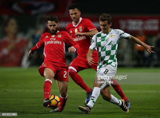 Moreirense's midfielder Francisco Geraldes with SL Benfica's forward Rafa Silva in action during Portuguese League Cup Semi Final match between SL...