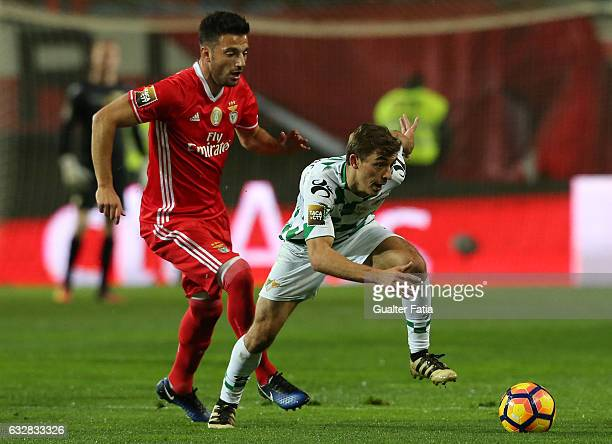 Moreirense's midfielder Francisco Geraldes with SL Benfica's midfielder from Greece Andreas Samaris in action during Portuguese League Cup Semi Final...