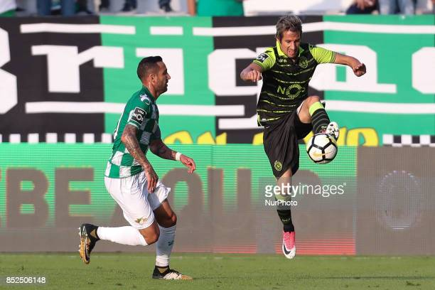Moreirense´s Portuguese Angelo Neto with Sporting´s Portuguese Fabio Coentrao during the Premier League 2017/18 match between Moreirense FC and...