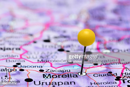 Morelia Pinned On A Map Of Mexico Stock Photo Thinkstock
