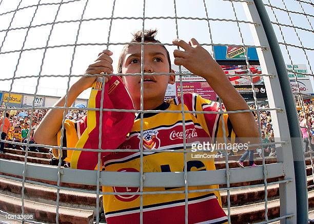 Morelia supporter watch the match against Santos as part of the Apertura 2010 at Morelos Stadium on October 10 2010 in Morelia Mexico