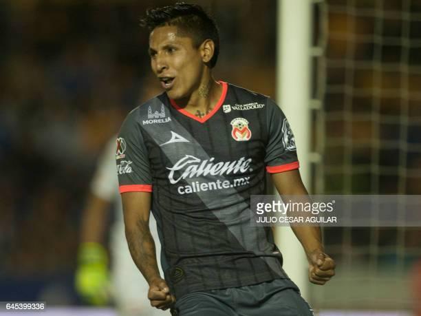 Morelia's Raúl Ruidiaz celebrates after scoring against Tigres during the Mexican Clausura 2017 tournament football match at the Universitario...