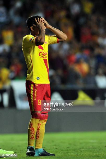 Morelia's Raul Ruidiaz gestures during the Mexican Apertura 2017 tournament football match against Tigres at the Morelos stadium in Morelia Mexico on...