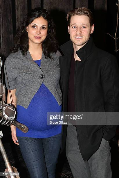 Morena Baccarin and boyfriend Benjamin McKenzie pose backstage at the hit play 'The Woodsman' at New World Stages on February 24 2016 in New York City