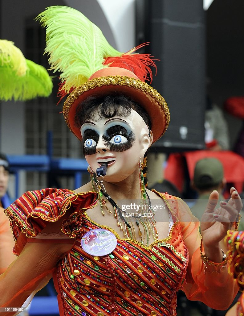 A Morenada Central Cocanis brotherhood dancer performs during the Carnival of Oruro, in the mining town of Oruro, 240 km south of La Paz on February 9, 2013. The Carnival of Oruro was inscribed by UNESCO on the Representative List of the Intangible Cultural Heritage of Humanity in 2008.
