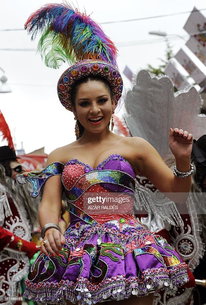 A Morenada Cocanis brotherhood dancer performs during the Carnival of Oruro, in the mining town of Oruro, 240 km south of La Paz on February 9, 2013. The Carnival of Oruro was inscribed by UNESCO on the Representative List of the Intangible Cultural Heritage of Humanity in 2008.