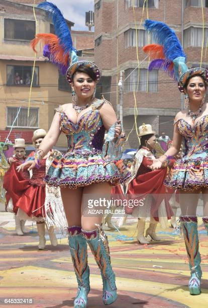 Morenada dancers participate in the inaugural parade of the Carnival of Oruro one of UNESCO's Masterpieces of the Oral and Intangible Heritage of...